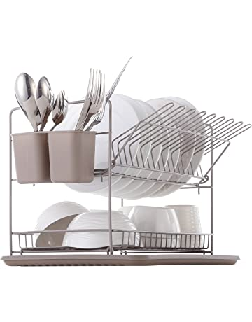 Harima - Escurreplatos de dos niveles con bandeja antigoteo y cesta para cubertería, gris cálido