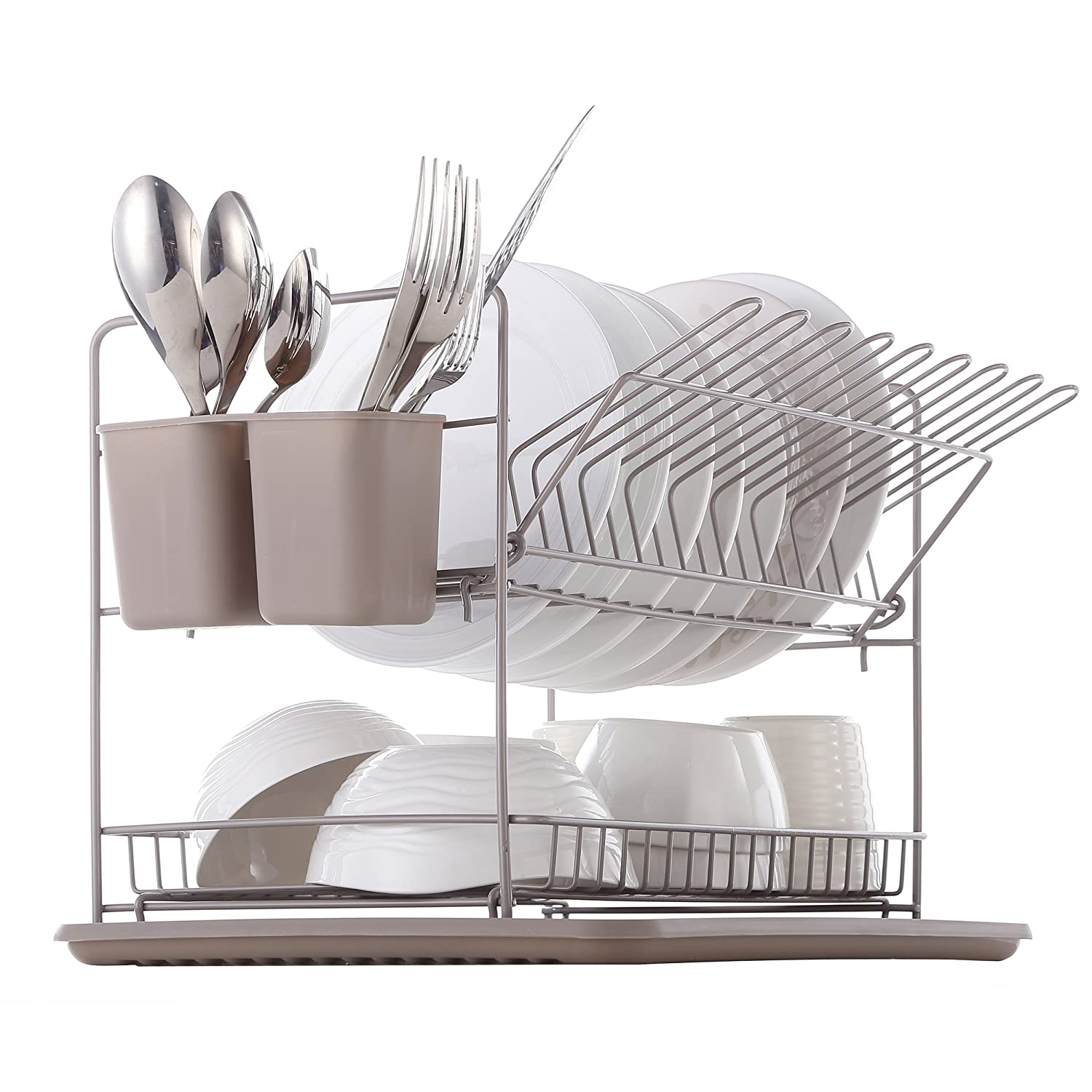 Harima - 2 Tier Folding Dish Rack Drainer with Drip Tray and Cutlery Baskets - Warm Grey