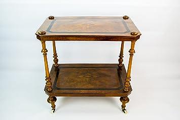 Clásico Victoriano Floral marrón nogal negro té bebidas carrito diseño de gran antiguo 19th siglo Inglés LS: Amazon.es: Hogar