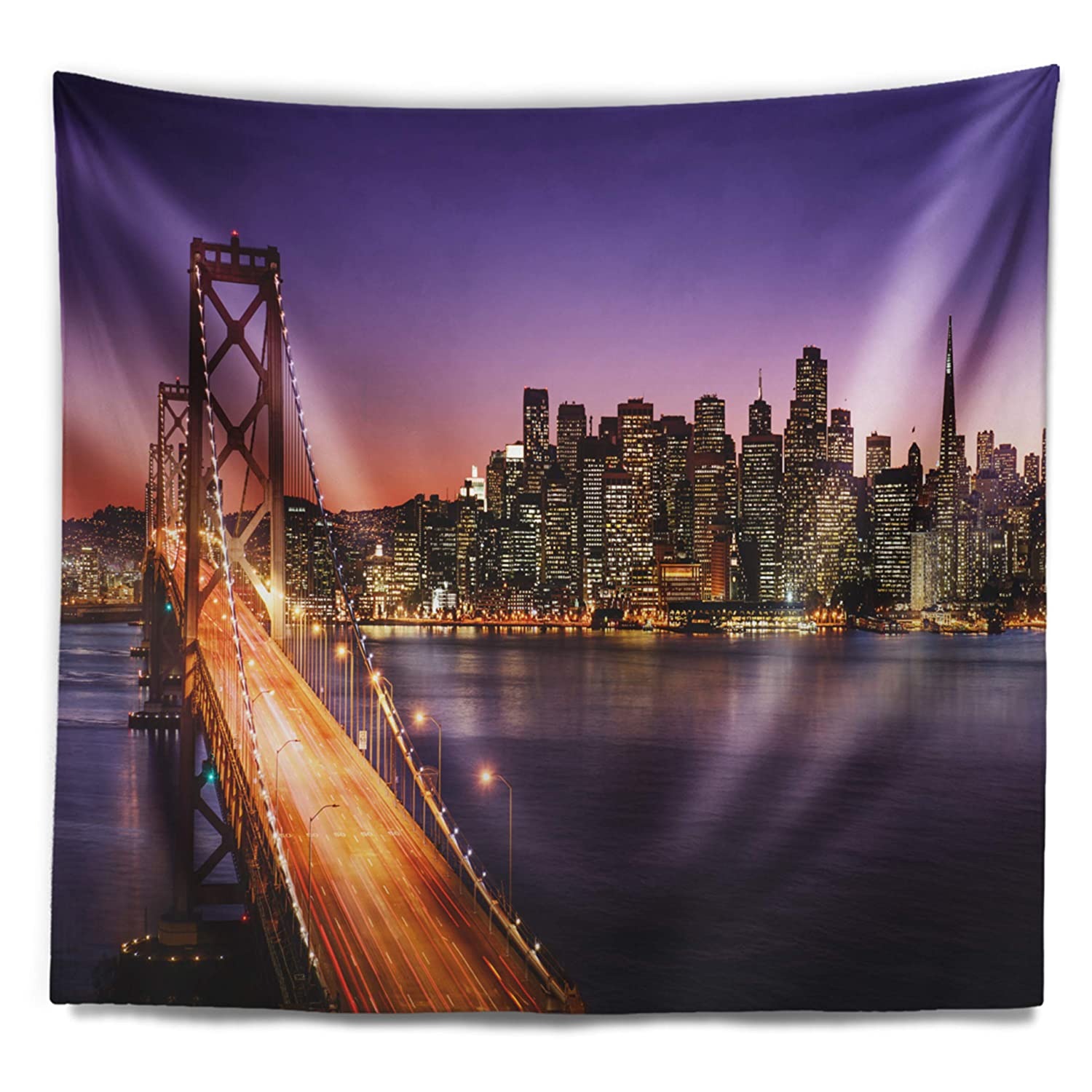 Designart TAP10042-80-68  San Francisco Skyline and Bay Sea Bridge Blanket D/écor Art for Home and Office Wall Tapestry x Large in x 68 in 80 in