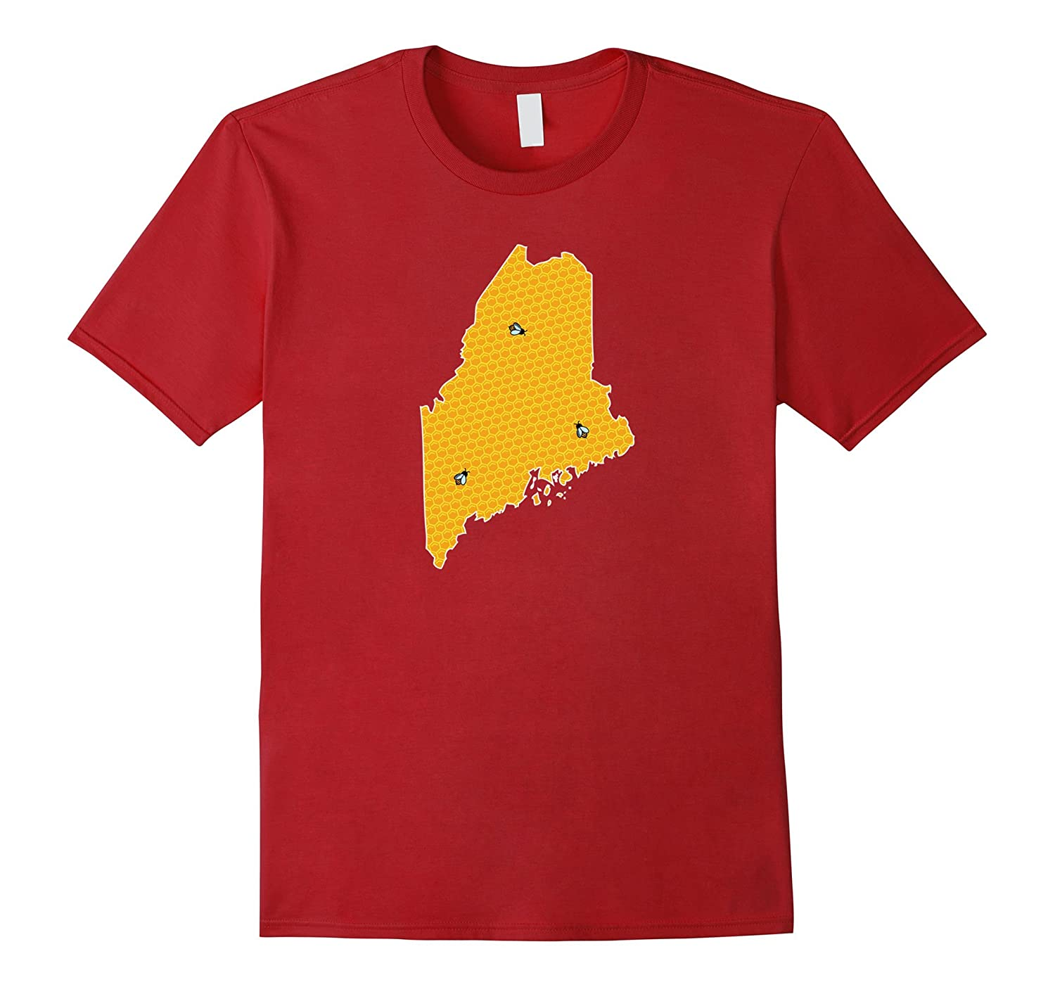 Maine Beekeepers Honeycomb Beehive State Map With Bees