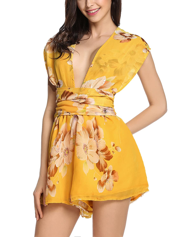 aa4e46dbb2d Amazon.com  Meaneor Women s Chiffon Romper Floral Print Sexy Back Cross  Jumpsuit  Clothing