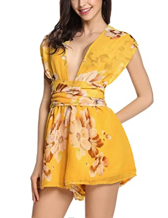 866c1affd15 Amazon.com  Meaneor Women s Chiffon Romper Floral Print Sexy Back ...