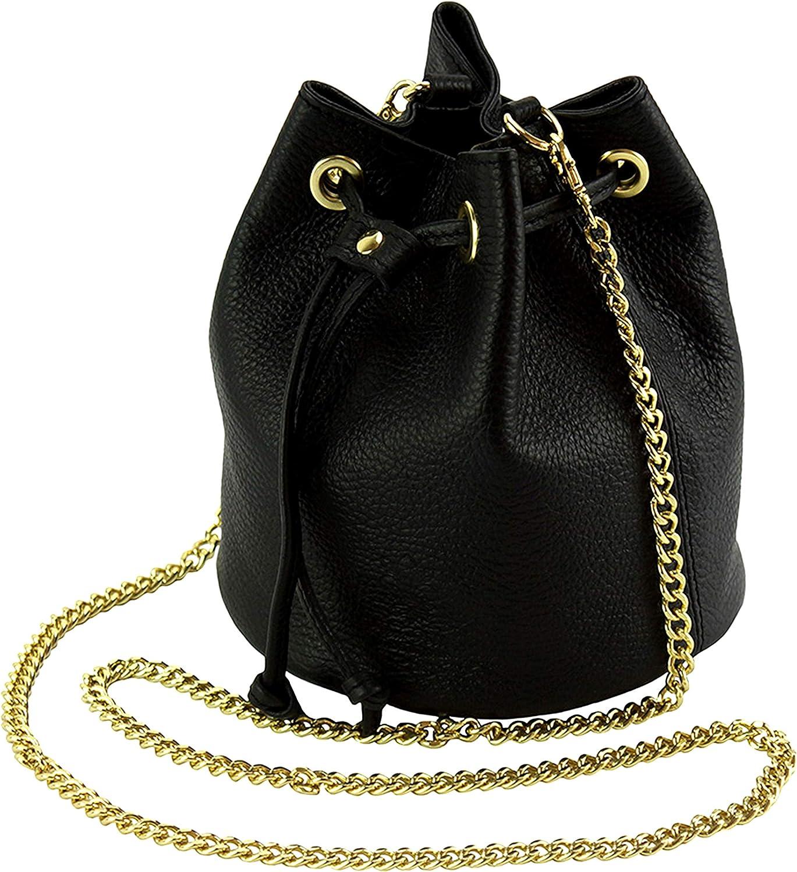 AENIS NICHOLE Crossbody Bags for Women, Drawstring Bucket, Purses and Handbag, Small Purse with Shoulder Chain Strap Genuine Italian Leather - Ilaria