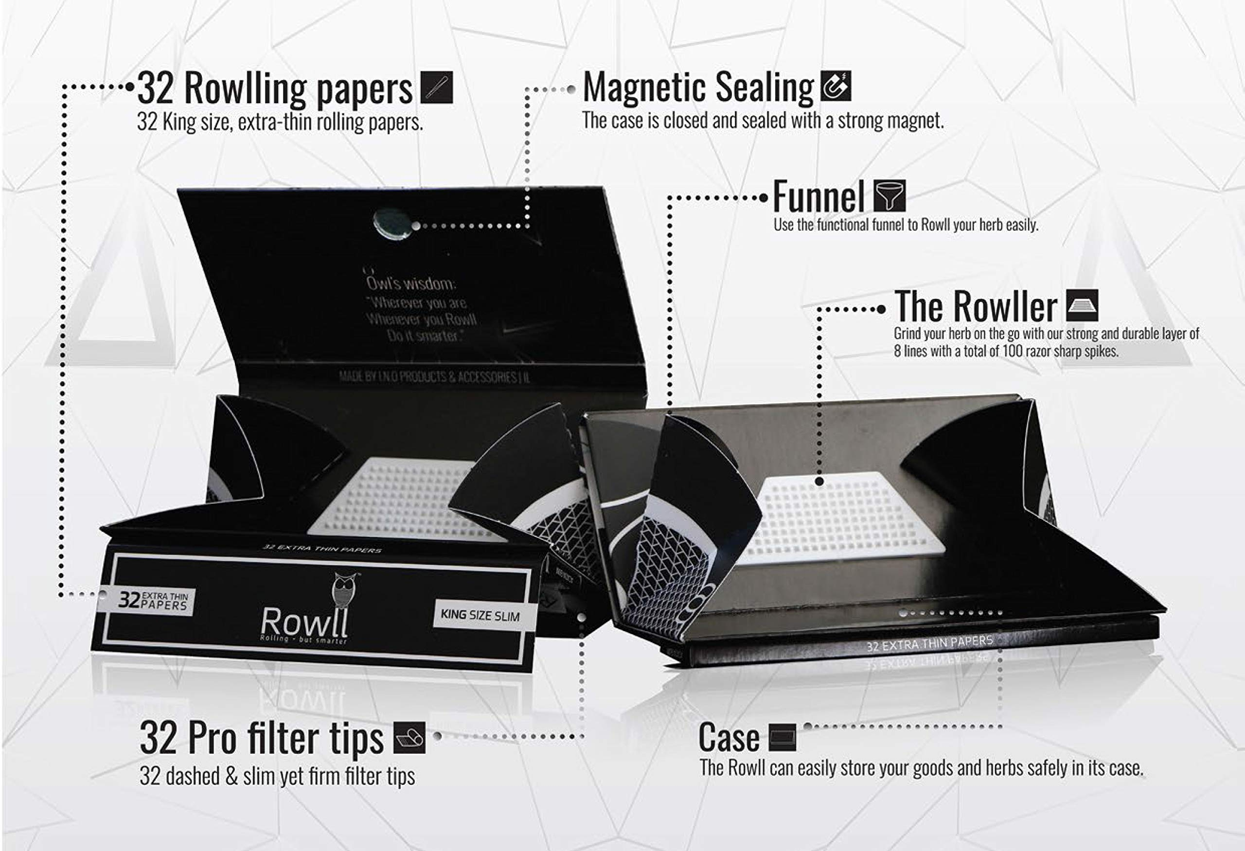 Rowll King Size Rolling Paper Kit with Grinder Cones Filter Tips Rolling Tray and Pouch (20 Pack) by Oil Slick