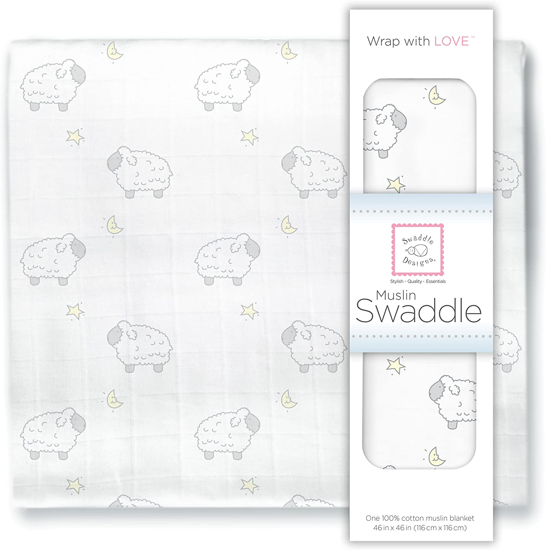 Little Lambs Sterling SwaddleDesigns Muslin Swaddle Blanket