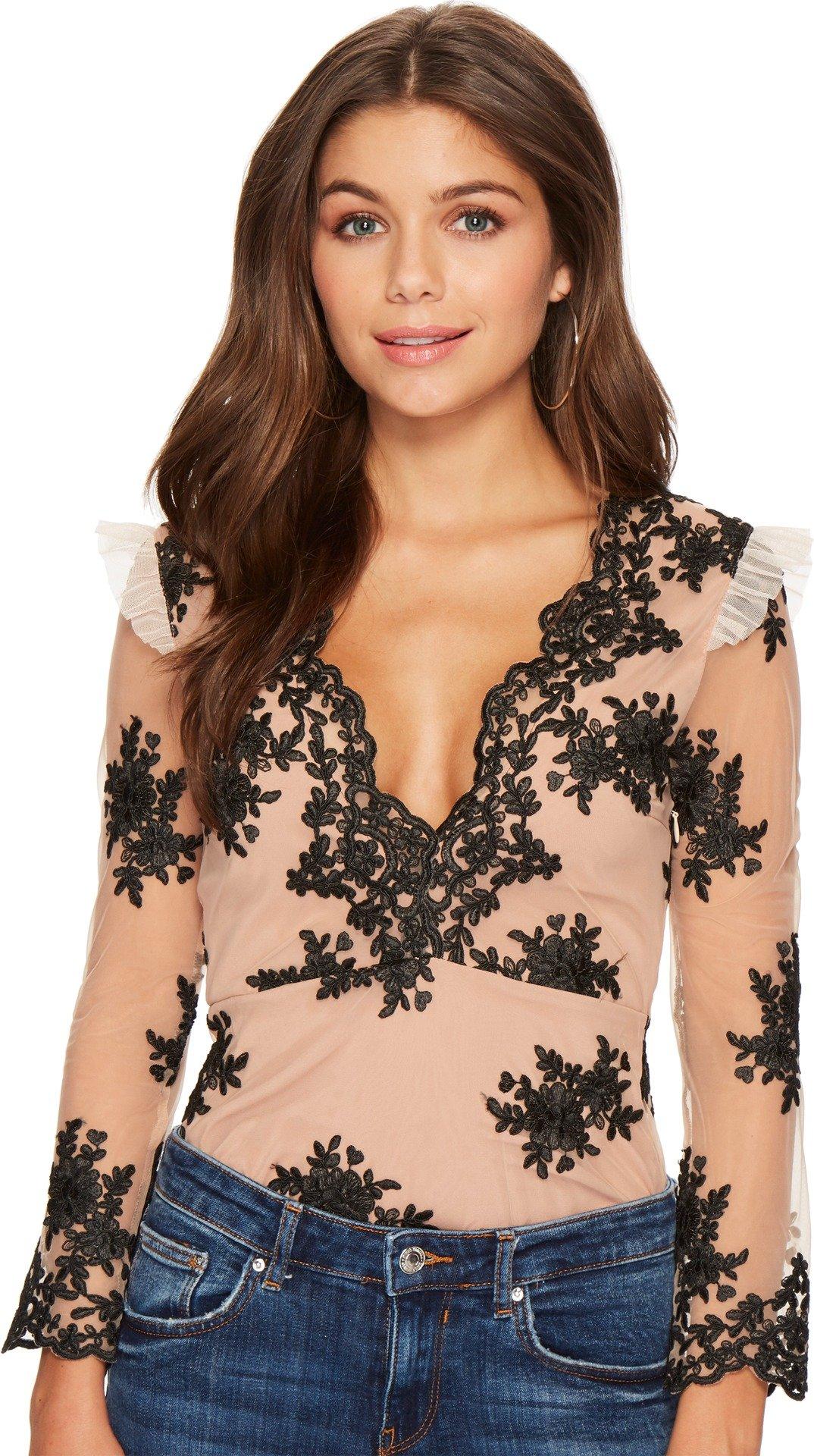 For Love and Lemons Women's Amber Scallop Edge Bodysuit Noir Large
