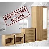 Zilato 4 Piece Mirrored Bedroom Furniture Set - 3 Drawer Wardrobe, 4 Drawer Chest, 2x 1 Drawer Bedside Cabinet (Oak)