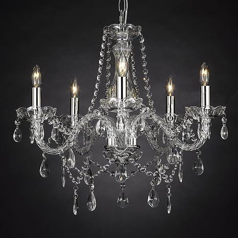 Crystal chandelier lighting 5 lights h19 x wd 19 ceiling fixture crystal chandelier lighting 5 lights h19quot x wd 19quot ceiling fixture pendant aloadofball Images