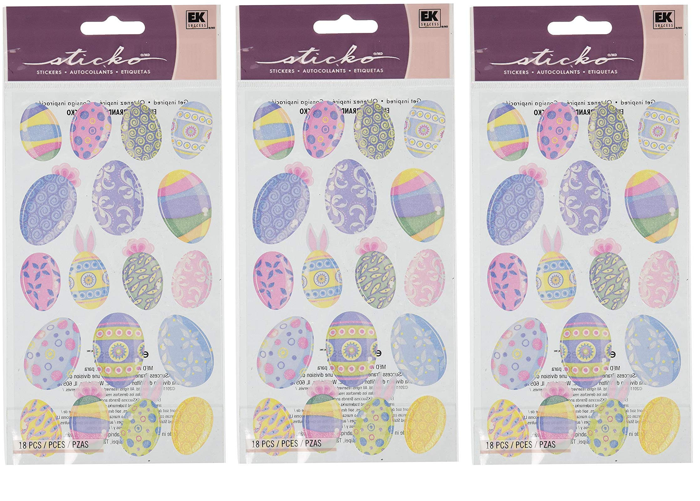 Sticko 442050 Stickers, Vellum & Glitter Multicolor Easter Eggs (Тhrее Pаck)