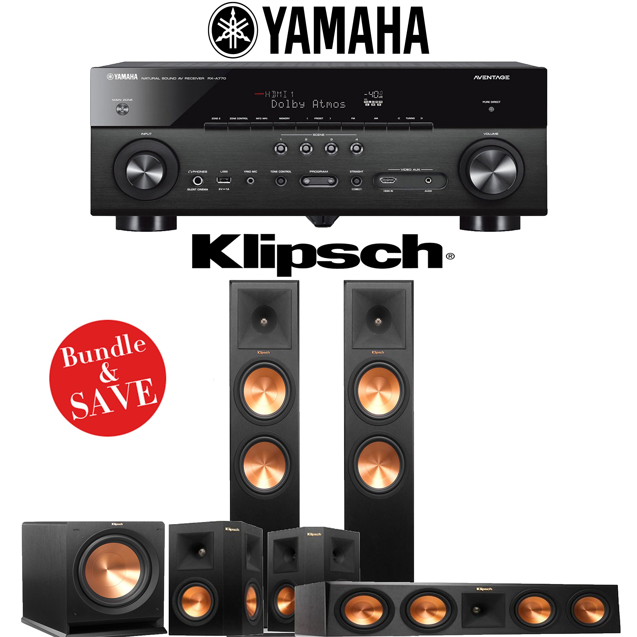 Klipsch RP-280F 5.1-Ch Reference Premiere Home Theater System with Yamaha AVENTAGE RX-A770BL 7.2-Ch 4K Network AV Receiver by Klipsch