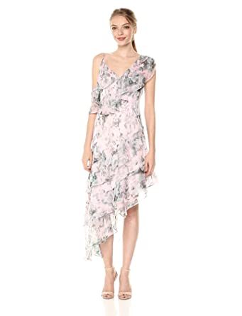 53bd5ed1ff Keepsake The Label Women's Sweet Love Asymmetrical Ruffle Midi Dress, sage  Rose Floral, ...