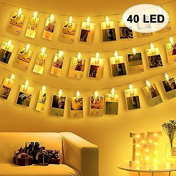 Amteker Guirlande Lumineuse Photo Chambre   40 Photo Clips 5M Guirlande LED  Pour Accroche Photo Mural