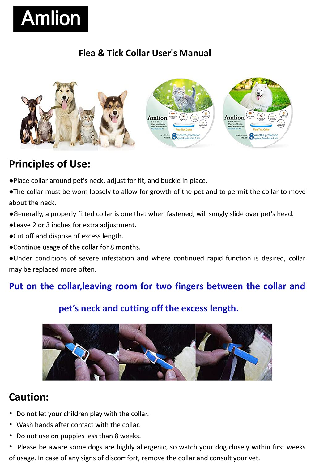 Flea and Tick Collar for Dogs,Cats-Prevents,Kills, Repels,Fleas, Ticks and Lice,Water Resistant,8 Months Protection,One Size Fits All
