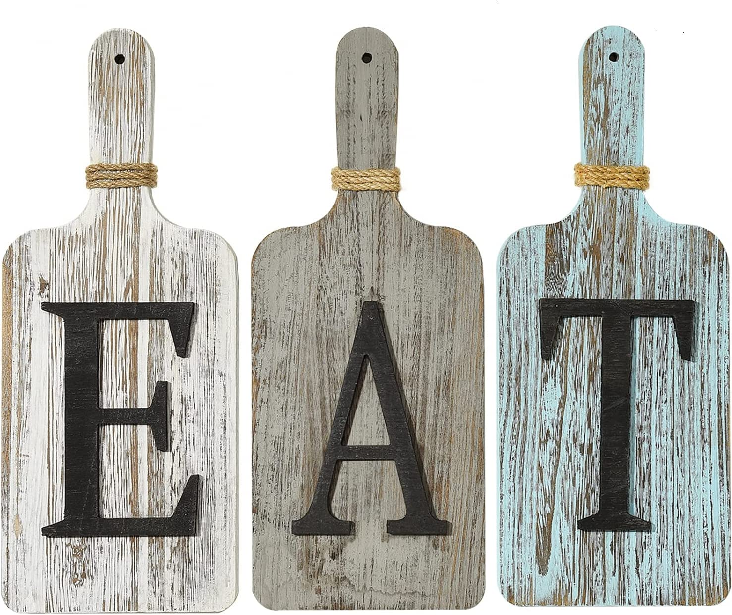 YoleShy Cutting Board EAT Sign Kitchen Signs Wall Decor Farmhouse Wood Rustic Kitchen Decor Wall Country Decor for Family, Home, Dining Room Set of 3