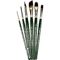 Silver Brush RSS-2560S Ruby Satin Starter Short Handle Acrylic/Oil Brush Set, 6 Per Pack