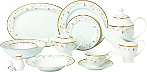Lorren Home Trends 57 Piece 'Greta' Bone China Dinnerware Set (Service for 8 People), Gold