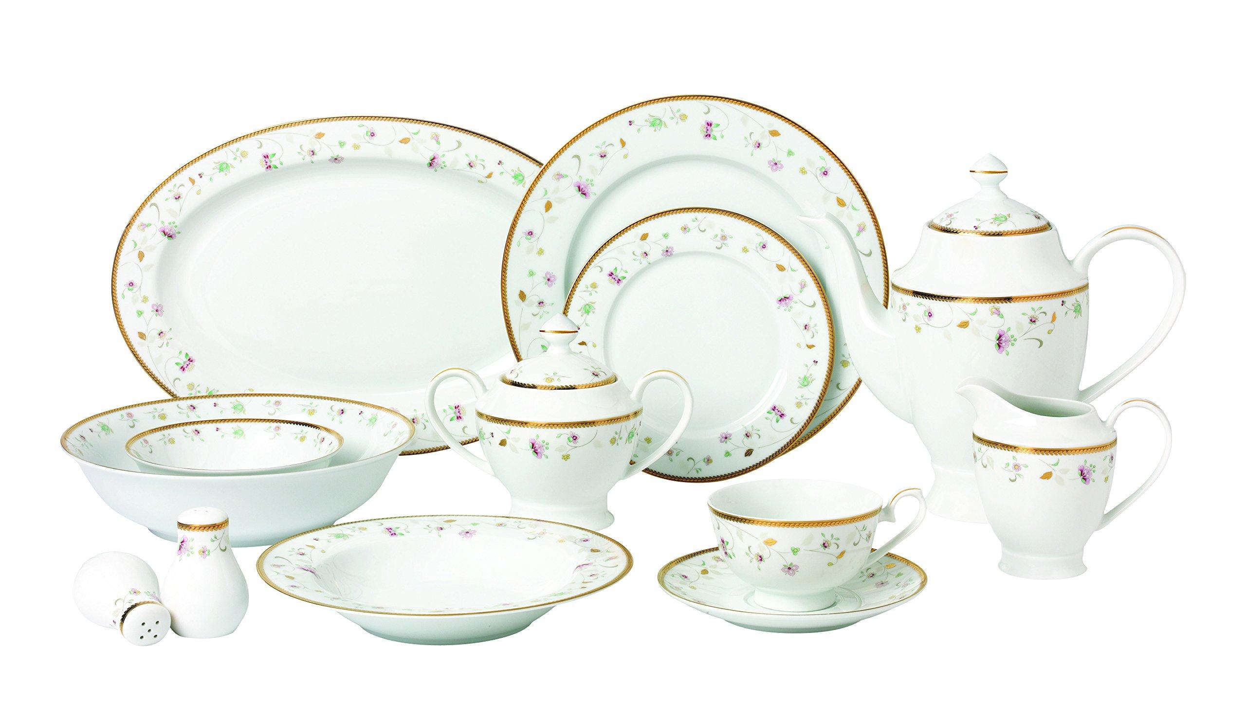 Lorren Home Trends 57 Piece 'Greta' Bone China Dinnerware Set (Service for 8 People), Gold