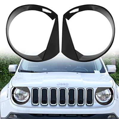 RT-TCZ Front Light Cover Angry Bird Headlight Bezels Cover ABS Trim For 2015 2016 2020 Jeep Renegade-2PCS (Black): Automotive