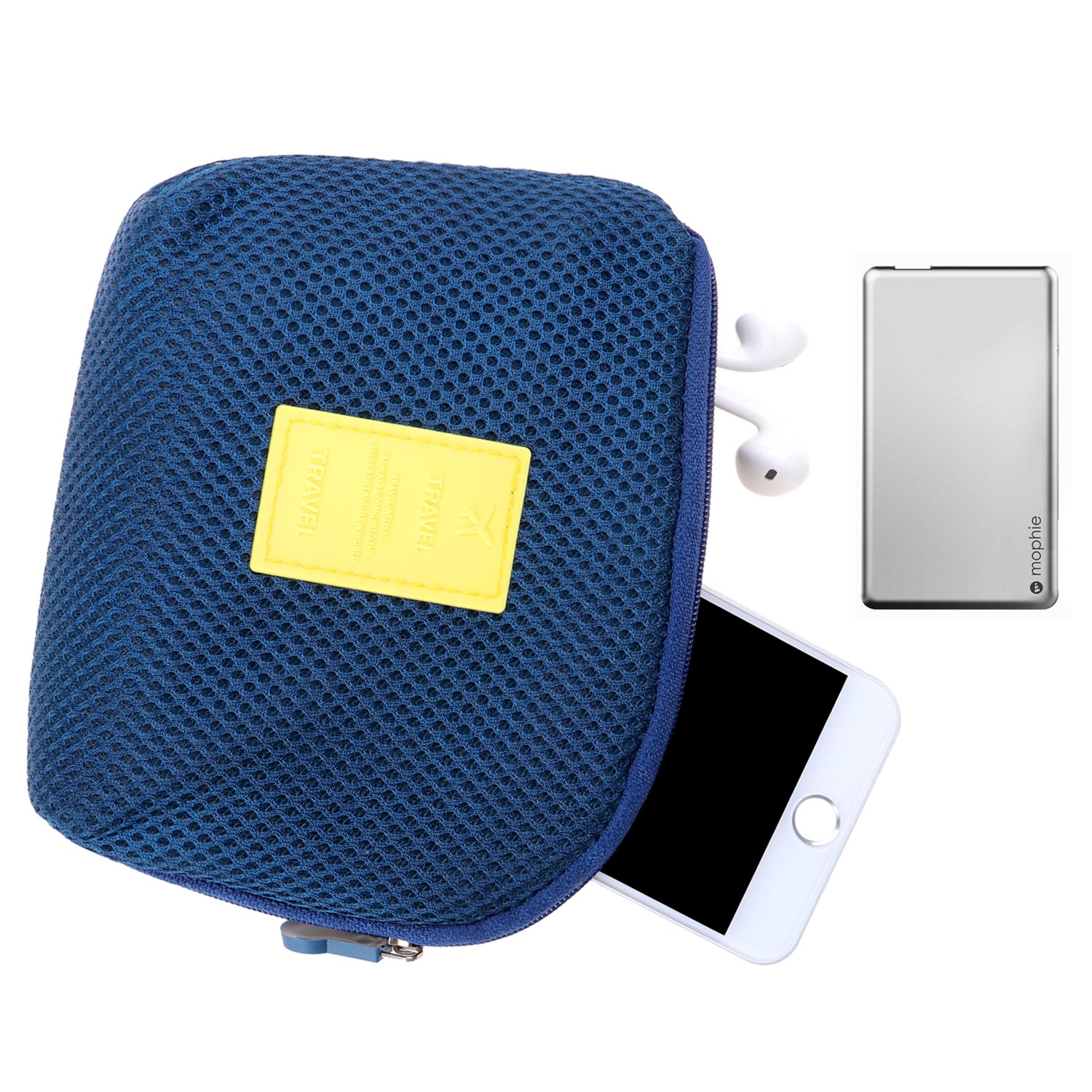Happy Hours - Multifunction Shockproof Digital Storage Bag Pouch / Creative Makeup Smartphone Charger Headset Data Cable Case for Travel and Daily(Navy) HOTFFHHB