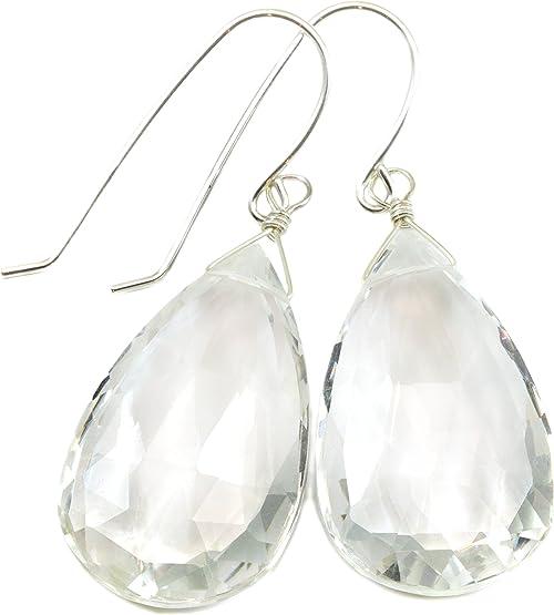 Clear Quartz Earrings Pear Teardrop Facet Natural Drops Sterling Silver 14k Gold