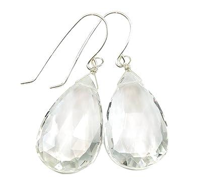 d1d3b5e38 Sterling Silver Crystal Clear Quartz Earrings Large Long Faceted Teardrop  Briolette Drops