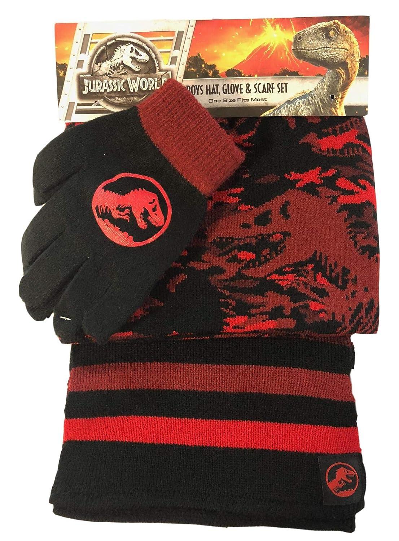 Jurassic World Dinosaur Trex Red Black Hat Glove Scarf Set for Boys