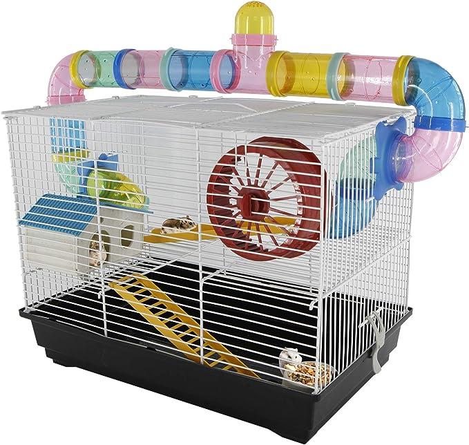 PawHut - Jaula para Hamster, Casa para Ratoncillos Roedores, Animal Pequeño con Escalera, Pista, Molino de Viento, Accesorios Incluidos, 62x29x52cm