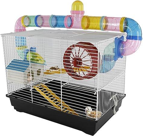 PawHut - Jaula para Hamster, Casa para Ratoncillos Roedores, Animal Pequeño con Escalera, Pista, Molino de Viento, Accesorios Incluidos, 62x29x52cm: Amazon.es: Hogar