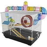 PawHut - Jaula para Hamster, Casa para Ratoncillos Roedores, Animal Pequeño con Escalera, Pista, Molino de Viento…