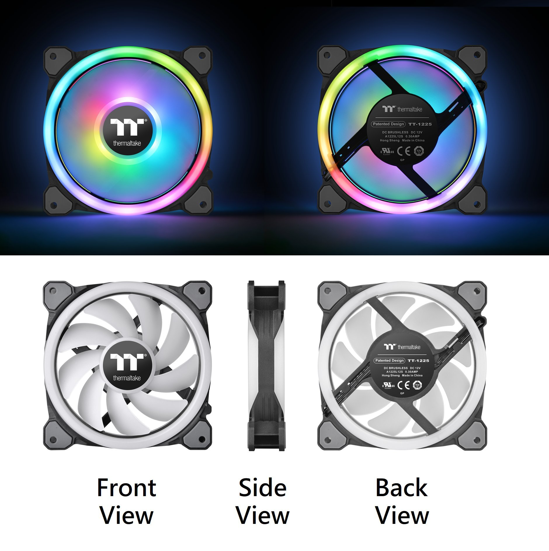 Thermaltake Riing Trio 12 RGB TT Premium Edition 120mm Software Enabled 30 Addressable LED 9 Blades Case/Radiator Fan - 3 Pack - CL-F072-PL12SW-A by Thermaltake (Image #3)