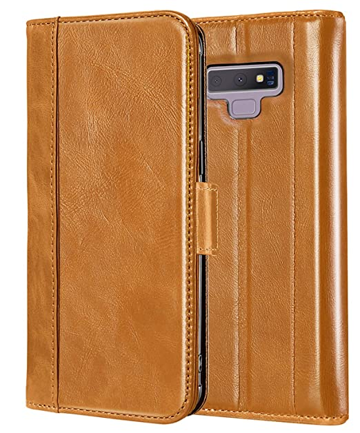 the latest 0b3d0 4c58e ProCase Genuine Leather Case for Galaxy Note 9, Vintage Wallet Folding Flip  Case with Kickstand and Multiple Card Slots Magnetic Closure Protective ...