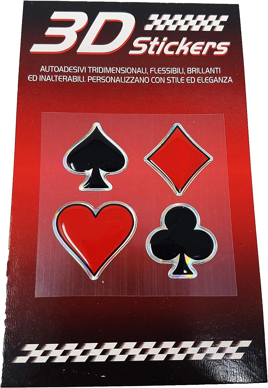 4R Quattroerre.it 14103 3D Aufkleber Spielkarten Symbolen
