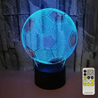 Aidool Soccer 3D LED Night Light Touch & Remote Control Table Desk Optical Illusion Bedside Lamp 7 Colors Changing for…