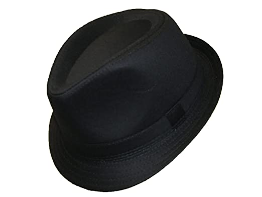 2328ac16 VIZ-UK WEAR Black Quality Traditional Elegant Trilby Hat (58cm ...