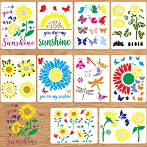 Flower Stencils,10Pcs Sunflower Bee Butterfly Stencils Template Spring Summer Stencils Leaf Drawing Template Reusable Painting Stencils for Painting on Wood Wall Fabric Furniture Crafts Home Decors