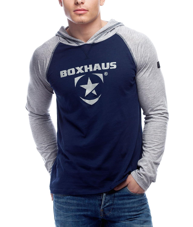 BOXHAUS Incept Kapuzenshirt LS Blau-Grau Htr