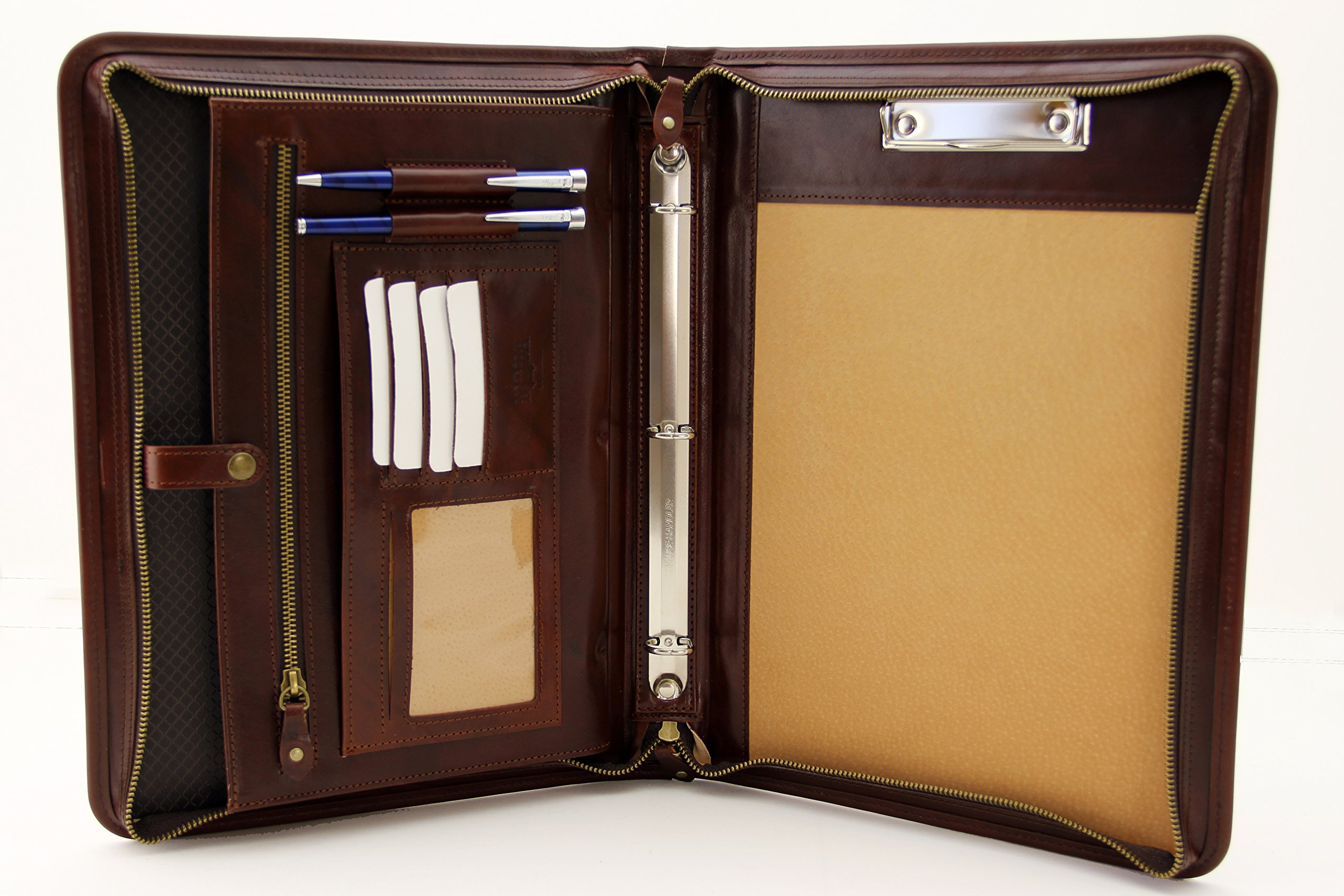 Noda Executive Leather Padfolio 3 ring binder Professional Business Portfolio w/ Zippered Closure | Resume, Document, Notepad, Tablet, Clipboard, Writing Pad Organizer | Men, Women (Caognac)
