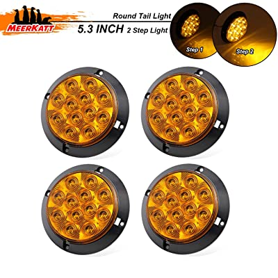 Meerkatt (Pack of 4) 4 Inch Amber LED Sealed Surface Mount Round Turn Signal Tail Utility Lights with Two Step Bright Waterproof Trailer Bus Truck Lorry Forklift Jeep Camper 12V DC Exterior Lamp GK12: Automotive