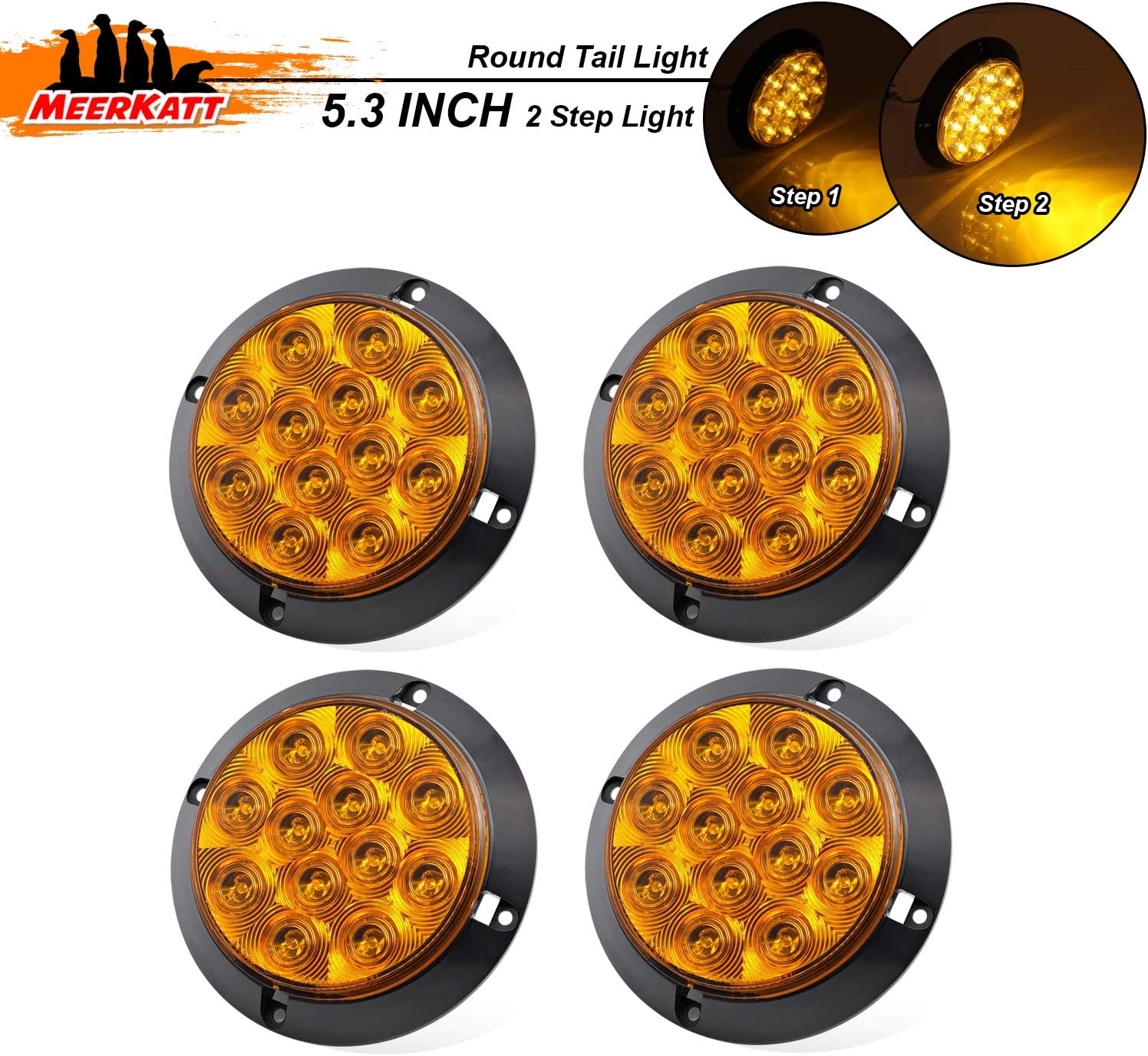4 Inch Amber LED Sealed Surface Mount Round Turn Signal Tail Utility Lights with Two Step Bright Waterproof Trailer Bus Truck Lorry Forklift Jeep Camper 12V DC Exterior Lamp GK12 Pack of 4 Meerkatt