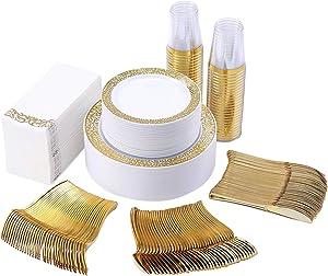 350 Piece Gold Dinnerware Set 50 Guest-100 Gold Lace Plastic Plates-50 Gold Plastic Silverware-50 Gold Plastic Cups-50 Linen Like Gold Paper Napkins, FOCUS LINE Disposable Dinnerware Set