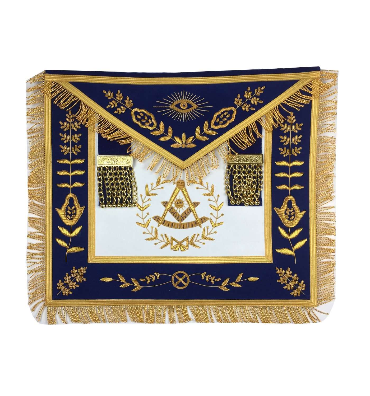 Masonic Past Masterエプロンシルバー手刺繍エプロンブルーベルベットma038   B07B53FL6R