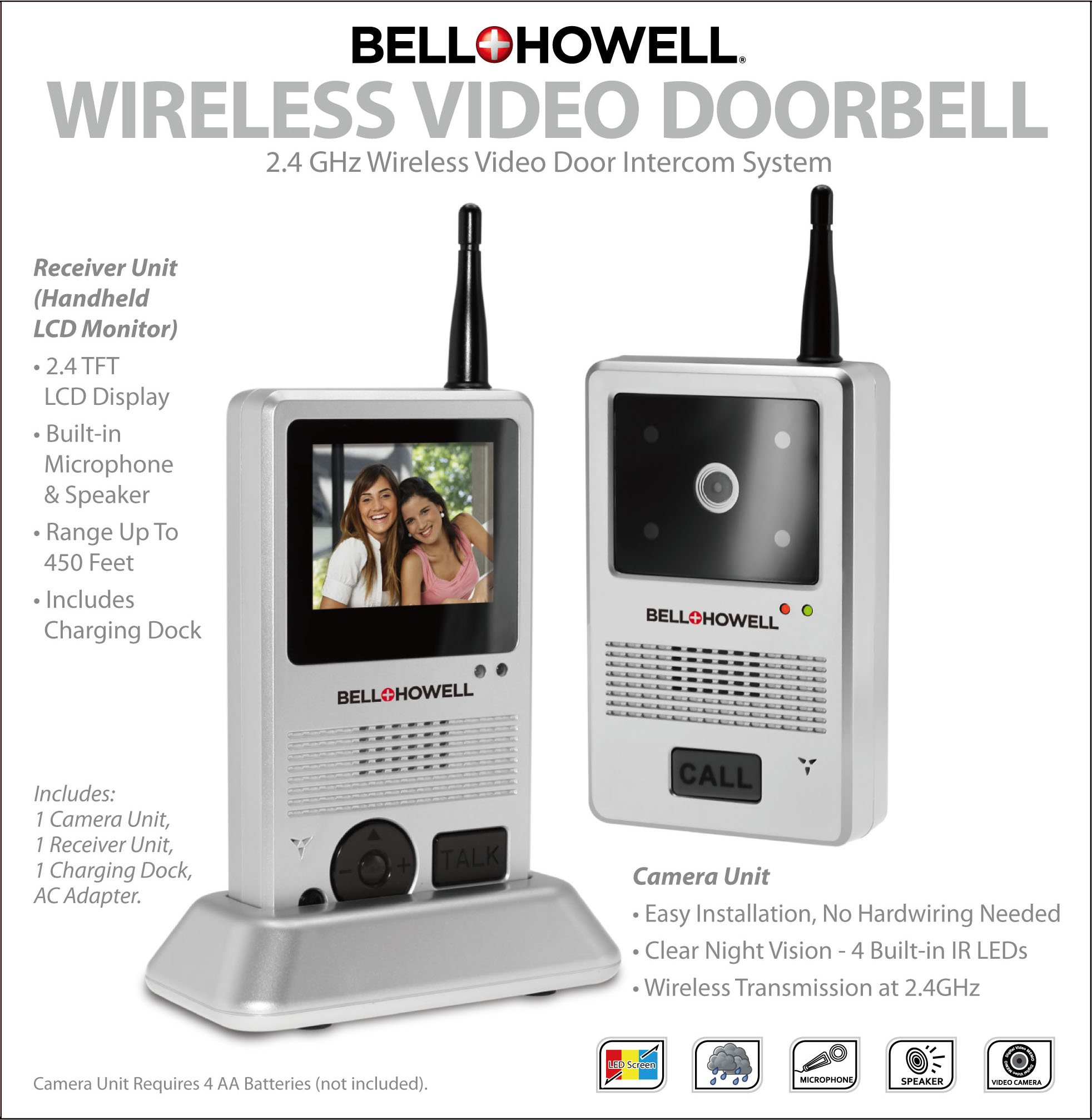 Bell + Howell 8553 2.4 GHz Wireless Video Door Intercom System