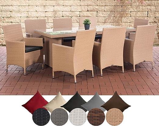 CLP Salon De Jardin Avignon XL en Résine Tressée I Ensemble De Jardin avec  8 Chaises + Table 200 x 90 cm Et Coussins Sable, Anthracite