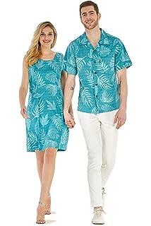 88d0b7c9 Couple Matching Hawaiian Luau Outfit Aloha Shirt Tank Dress in Aqua Leaf  Floral