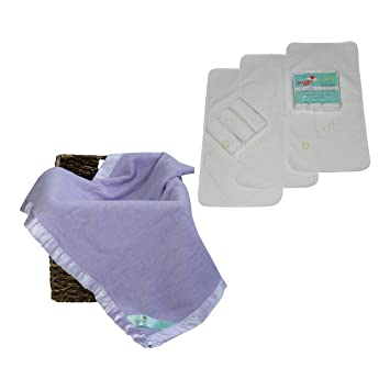 Purple Bamboo Blanket/Baby Changing Pad Liner Bundle - Includes 3 Waterproof Changing Pads...