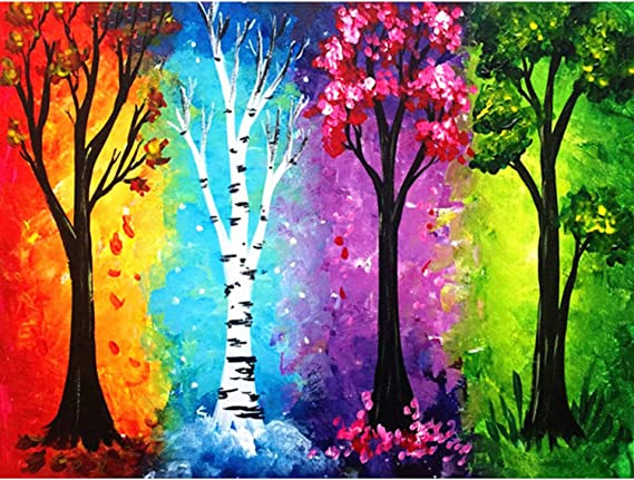 ANMUXI 5D Diamond Painting Kits Full SQUARE Drills for Adults 40X50CM Pink Tree Landscape Scenery Paint With Diamonds Art for Stress-relief /& Home Decor