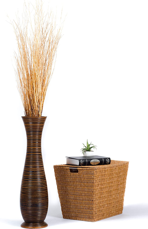 15x41 cm brown Mango Wood Leewadee Small Floor Standing Vase For Home Decor Centerpiece Table Vase