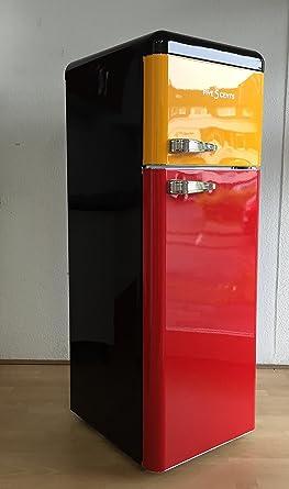 Retro Frigorífico Bélgica Negro Amarillo Rojo Brillo/Bélgica ...