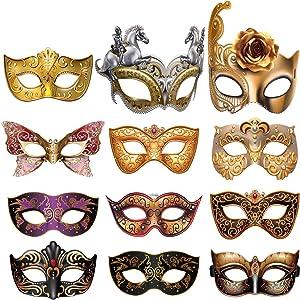 12 Pieces Mardi Gras Masquerade Mask, Paper Masks Set for Carnival Prom Venetian Masks Half Retro Masquerade Mask Mardi Gras Costume Fancy Dress Party Supplies
